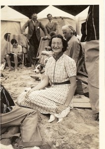 Cicely circa aged 19 with Christopher in background
